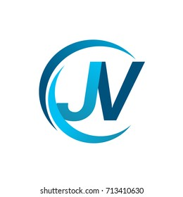 initial letter JV logotype company name blue circle and swoosh design. vector logo for business and company identity.