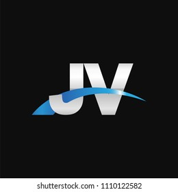Initial letter JV, overlapping movement swoosh logo, metal silver blue color on black background
