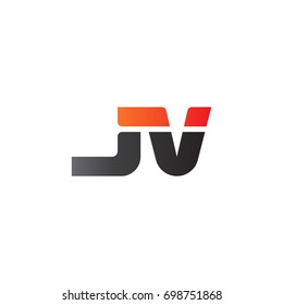 Initial letter JV, straight linked line bold logo, gradient fire red black colors