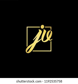 Initial letter JV VJ minimalist art monogram shape logo, gold color on black background