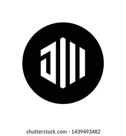 Initial Letter JW or JM, Hexagon Shape Logo Icon, Combined With Black Circle
