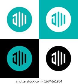 Initial Letter JW or JM logo icon