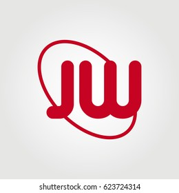 initial letter jw logo red on white background