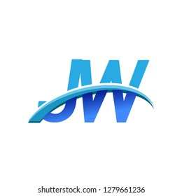 initial letter JW logotype company name colored blue and swoosh design. vector logo for business and company identity.