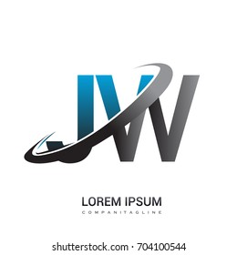 initial letter JW logotype company name colored blue and grey swoosh design. logo design for business and company identity.