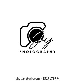 Initial Letter JY with camera. Logo photography simple luxury vector.