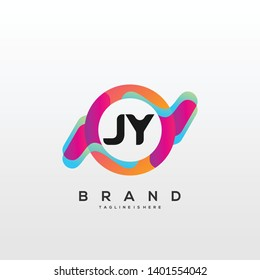 Initial letter JY logo with colorful circle background, letter combination logo design for creative industry, web, business and company. - Vector