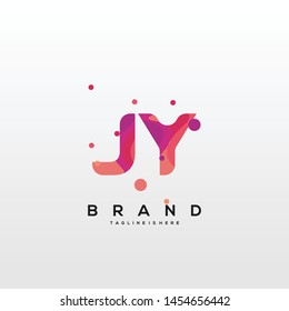 Initial letter JY logo with colorful background, letter combination logo design for creative industry, web, business and company. - Vector