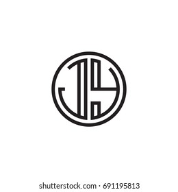 Initial letter JY, minimalist line art monogram circle logo, black color