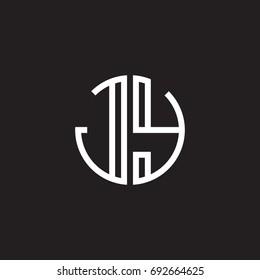 Initial letter JY, minimalist line art monogram circle shape logo, white color on black background