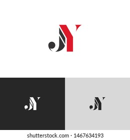 Initial Letter jy uppercase modern logo design template elements. red letter Isolated on black white grey background. Suitable for business, consulting group company.