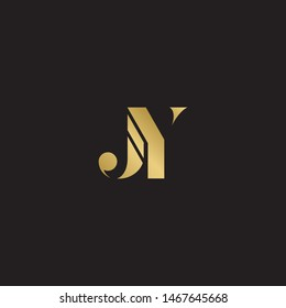 Initial letter jy uppercase modern logo design template elements. Gold letter Isolated on black  background. Suitable for business, consulting group company.