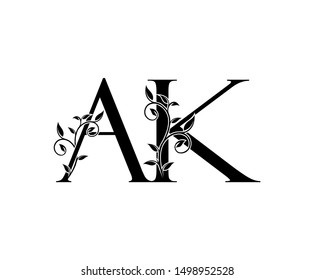 Initial letter A and K, AK, vintage Logo Icon, classy black letter monogram logo icon suitable for boutique,restaurant, wedding service, hotel or business identity.