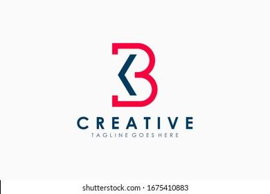 Initial Letter K and B Logo. Flat Line Vector Branding Logo Design Template Element.