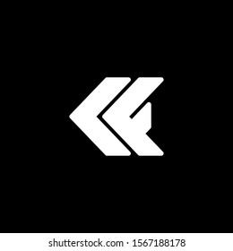 Initial letter K or C F logo template with modern arrow in flat design illustration