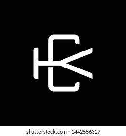 Initial letter K and C, KC, CK, overlapping interlock monogram logo, white color on black background