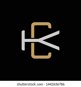 Initial letter K and C, KC, CK, overlapping interlock logo, monogram line art style, silver gold on black background