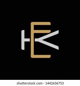 Initial letter K and E, KE, EK, overlapping interlock logo, monogram line art style, silver gold on black background
