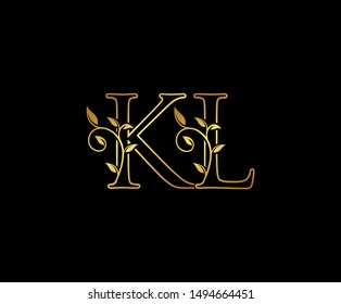 Initial letter K and L, KL, Gold Logo Icon,   classy gold letter monogram logo icon suitable for boutique,restaurant, wedding service, hotel or business identity.