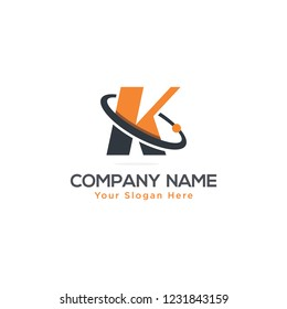 Initial Letter K Swoosh Orbit Logo Designs Vector Orange Colors in White Backgrounds