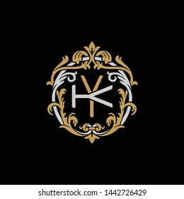 Initial letter K and Y, KY, YK, decorative ornament emblem badge, overlapping monogram logo, elegant luxury silver gold color on black background