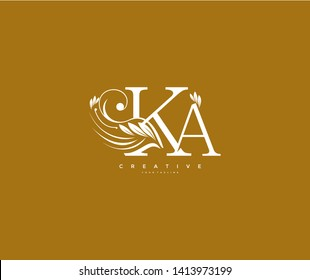 Initial Letter KA Linked Beauty Flourishes Monogram Gold Background