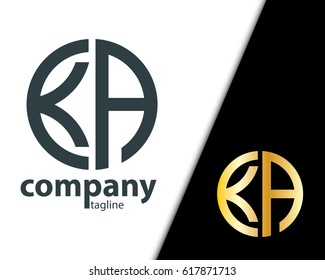 Initial Letter KA With Linked Circle Logo