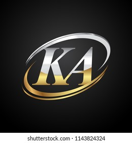 initial letter KA logotype company name colored gold and silver swoosh design. isolated on black background.