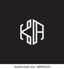 Initial letter KA, minimalist line art monogram hexagon shape logo, white color on black background