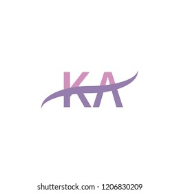 Initial letter KA, overlapping movement swoosh logo, soft purple color isolated on white background