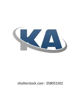initial letter KA swoosh ring company logo blue gray