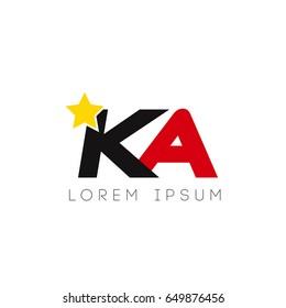 Initial letter ka yellow star logo red black