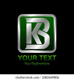 Initial letter KB or BK logo template colored silver green design for business and company identity