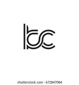 Initial letter kc, linked outline rounded lowercase, monogram black