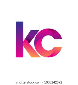 Initial Letter KC Logo Lowercase, magenta and orange, Modern and Simple Logo Design.