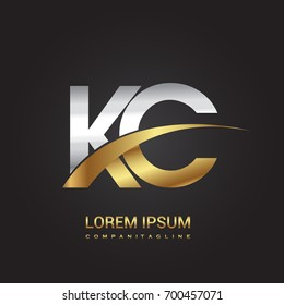 initial letter KC logotype company name colored gold and silver swoosh design. isolated on black background.