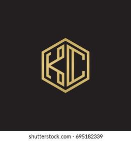 Initial letter KC, minimalist line art hexagon logo, gold color on black background