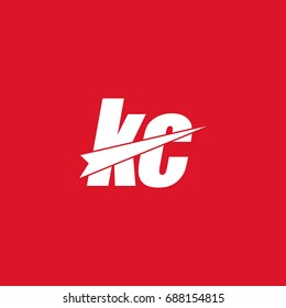 initial letter kc white flat logo vector in red background