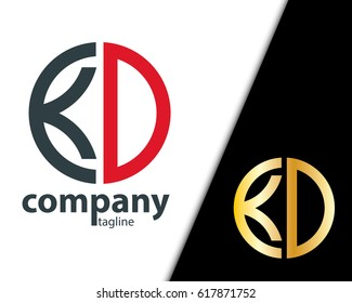 Initial Letter KD With Linked Circle Logo