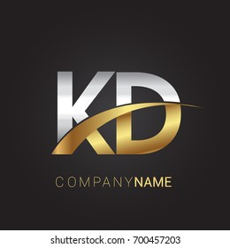 initial letter KD logotype company name colored gold and silver swoosh design. isolated on black background.
