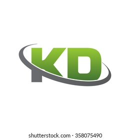 initial letter KD swoosh ring company logo green gray