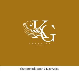 Initial Letter KG Linked Beauty Flourishes Monogram Gold Background