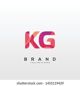 Initial letter KG logo with colorful background, letter combination logo design for creative industry, web, business and company. - Vector