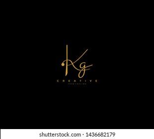 Initial Letter Kg Logo Manual Gold Elegant Minimalist Signature Logo