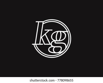 Initial letter kg lowercase outline inside the circle logo template white on black background