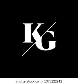 Initial Letter KG Monogram Sliced. Logo template isolated on black background