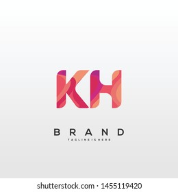 Initial letter KH logo with colorful background, letter combination logo design for creative industry, web, business and company. - Vector