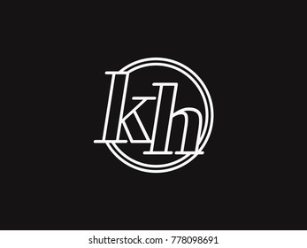 Initial letter kh lowercase outline inside the circle logo template white on black background
