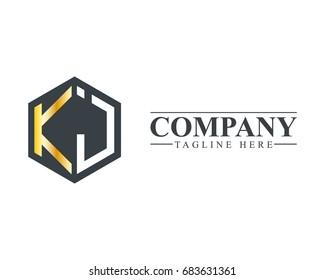 Initial Letter KJ Hexagonal Design Logo