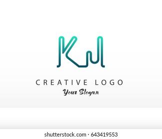Initial Letter KJ logo vector